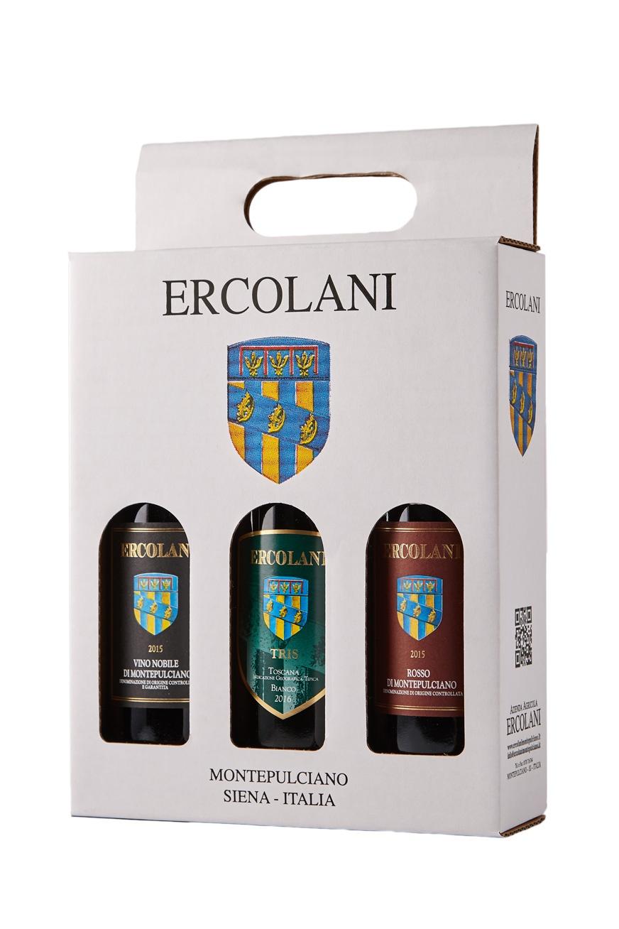 Confezione da 3 vini ( vino Nobile di Montepulciano d.o.c.g. 2015 + bianco i.g.t. Tris 2018 + rosso di Montepulciano d.o.c. 2017